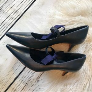 Tory Burch Navy Leather Mary Jane Kitten Heels 11M
